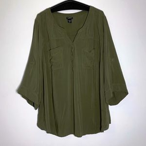 Torrid size 5 Olive green pocket button up shirt